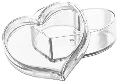 Solly`s Clara Schmuck Dose in Herzform mit Deckel, dekorative Herzschale für Ohrringe, Ringe, Ketten (Transparent)