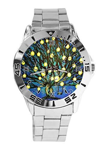Königsblau leuchtende Laternen Lichter Schaukel Baum Zweige Sternenhimmel Design Analog Armbanduhr Quarz Silber Zifferblatt Classic Edelstahlband Damen Herren Uhr