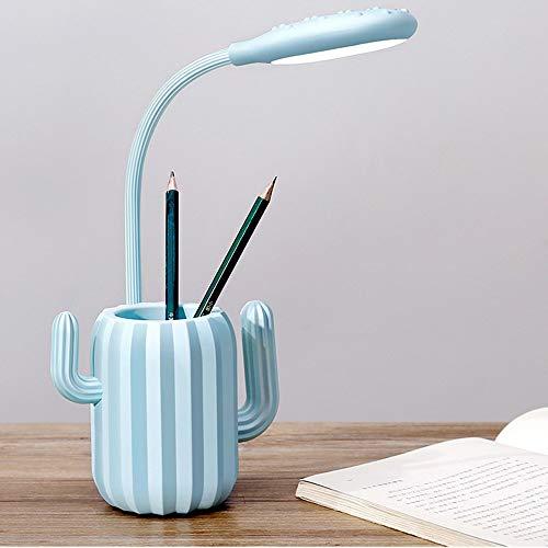 FHUA Lámpara Escritorio Lámpara Soporte de Pluma Cactus Toque Interruptor LED PROTECCIÓN DE EYURA Lámpara de Mesa Oficina Aprendizaje Lámpara de Mesa (Color : Blue)