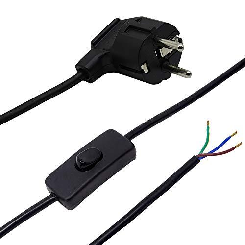 Zuleitung mit Stecker und Schalter 2 Meter Schwarz Anschlusskabel Netzkabel Stromkabel mit Schnurzwischenschalter und Winkelstecker 3x0,75qmm 250V SW Länge 2000mm