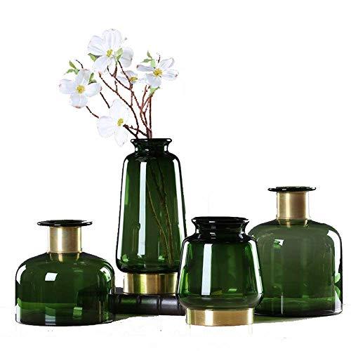 DXX-HR Vase Clear Glass Cylinder Vase Flower Vase Brass Decorative Gold Bracelet Wedding Housewarming Party Table Setting 4 Sets for Home Wedding (Color, Size : Free) Decorative Vase