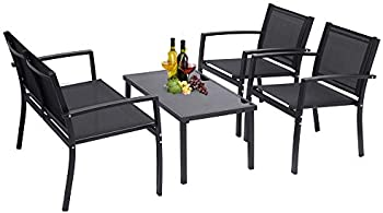 onEveryBaby 4 Piece Poolside Lawn Chairs with Glass Coffee Table