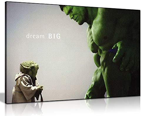 Panther Print, Canvas Wall Art, Yoda and the Hulk Comic Book Movie, Avengers Superhero Picture Prints, Print for Special Occasions (76x51cm)