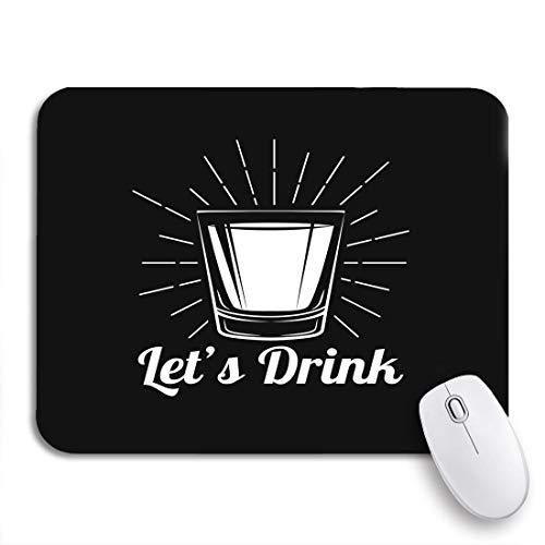 Gaming mouse pad grauer schuss whisky trinkglas alkohol weiß betrunkenes etikett rutschfeste gummiunterlage computer mousepad für notebooks mausmatten