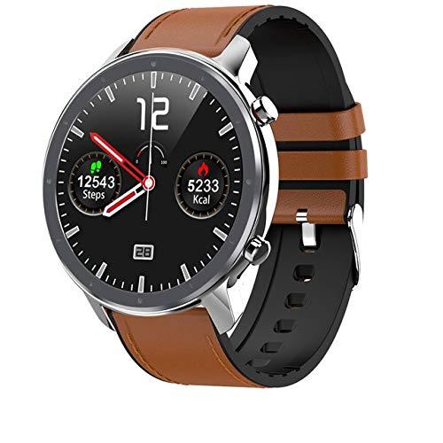L11 Smart Watch Männer Frauen Vollrunder Touchscreen EKG Herzfrequenz Wetteranzeige Ip68 Smartwatch Android Ios Silber Leder Hinzufügen