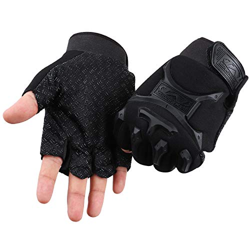 ACVCY Fingerless Gloves for for Kids, Non-Slip Classic Fingerless Cycling Gloves Finger Mountain Bike Bicycle Riding Outdoor Gloves (Black)
