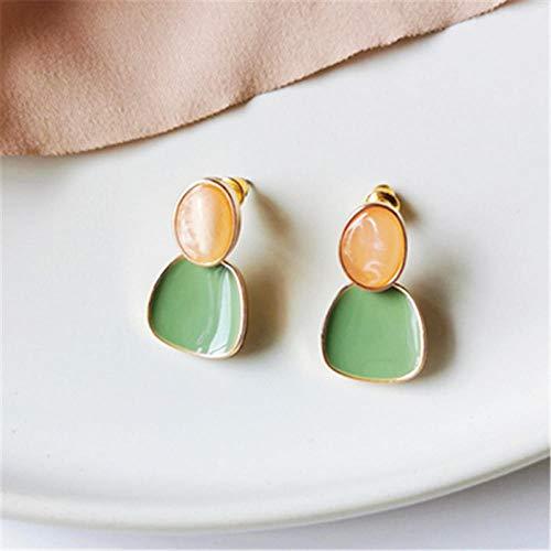 Pendientes Mujer Pendientes A Juego De Colores De Moda, Bonitos Pendientes Geométricos Románticos, Pendientes De Color Vintage para Mujer, Verde