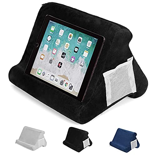 Prtukyt Multi-Angle Soft Pillow Lap Stand for iPads, Tablets, eReaders, Smartphones, Magazines, Books (Black)