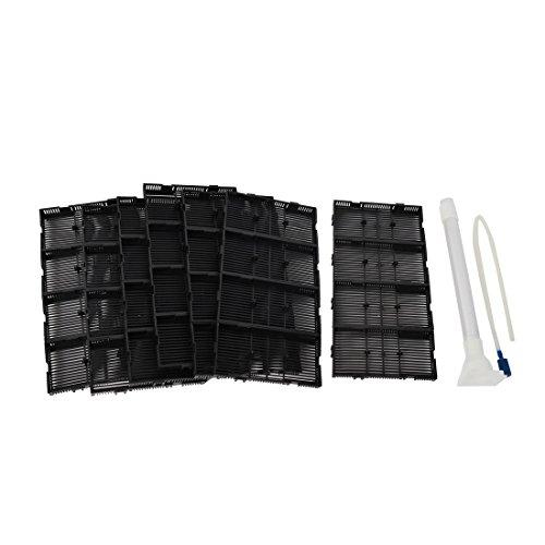 sourcingmap Poissons d'Aquarium en Plastique Fond cuve Filtre sous-Gravier Noir Plaque 28pcs