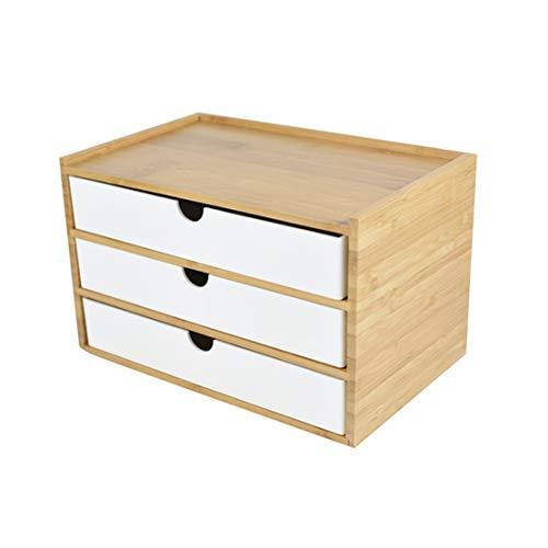 Verve Jelly Desktop Schubladenbox Holz, Aufbewahrungsbox mit Schubladen Vintage Schmuckkästchen Holzkästchen Holzbox mit Schubfach Organizer Holz Tischkommode zur Aufbewahrung (Weiß, 3 Stöckig)