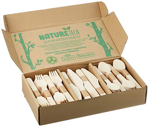 Set di Posate in Legno Bianco di Betulla Monouso USA e Getta   Ecologico, Biodegradabile, Compostabile, 100% Naturale   Confezione da 300 Pezzi (100 Cucchiai, 100 Forchette, 100 Coltelli)