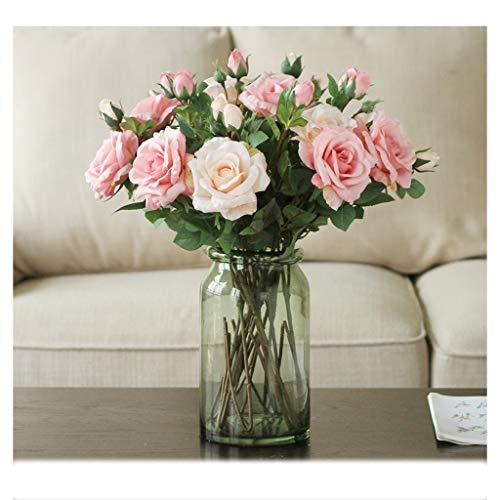 Tabla Flor de simulación Rose falso Conjunto de flores Sala de flores de la mano del ramo de la decoración de gran ramo de la decoración de la botella de cristal falso flor ( Color : Pink+beige )