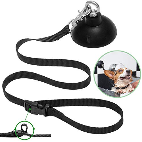 DCSUIT Dog Shower Bathing Tether Straps with Suction Cup - Dog Grooming Restraints Shower Soft Nylon Leash with Adjustable Collar - Strong Suction Cups Suit for Smooth Wall(Marble,Metal,Glass,etc.)