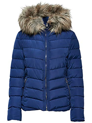ONLY Kurze Damen Stepp Jacke mit abnehmabarer Fellkapuze, Größe:L, Farbe:Blau