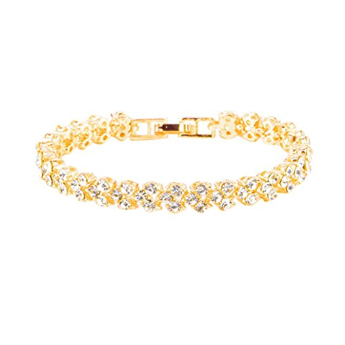 FORH Armband Legierung Edelsteine Armband Jewellery Armband Neue Modeschmuck Strass Kristall Handgemachte Metall Perlen Armbänder (Gold)