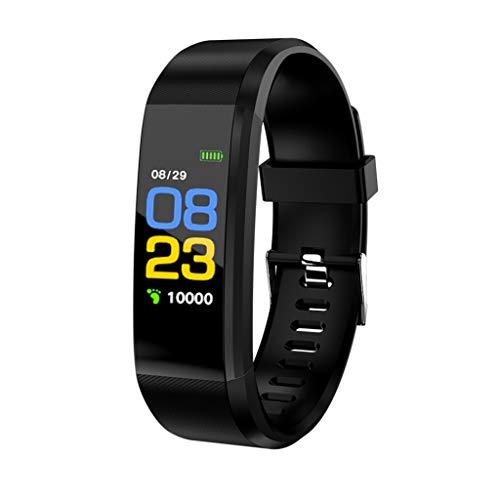 RK-HYTQWR 115Plus Sport Smart Watch Pulsera Frecuencia cardíaca Presión Arterial Reloj Inteligente para Hombres, Pulsera Deportiva Bluetooth Negra, Negro
