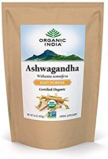 ORGANIC INDIA Ashwagandha Bulk Herb Powder, Healthy Stress Response, 1 lb