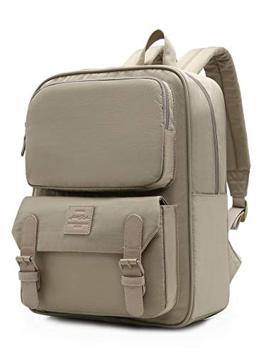 HotStyle DULCY Compact Slim Backpack for Women & Teen Girls, Fits 14-in Laptop, Cute Fashionable Vintage bookbag for School, College, Work & Travel, Khaki