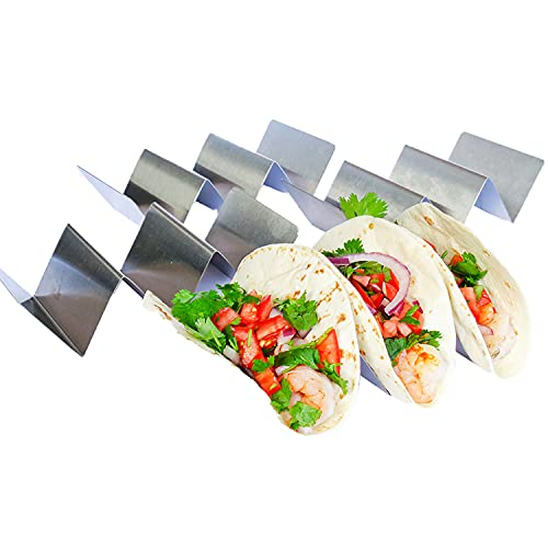 Taco Holder - Taco Holders, Stainless Steel with Free Recipe Ideas - Taco Trays - Taco Stand Up Holder - Taco Stand - Taco Plates - Holds 3 Tacos - Dishwasher, Oven and Grill Safe (4 Pack)