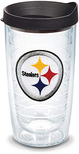 Tervis NFL Pittsburgh Steelers Primary Logo Tumbler with Emblem and Black Lid 16oz, Clear