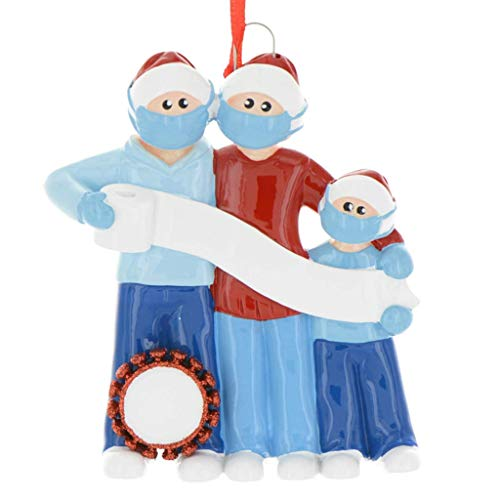 Shan-S Personalized Survived Family of 3-6 Ornament 2020 Christmas Holiday Decorations DIY Survived Family Quarantine Christmas Party Decoration Gift Product