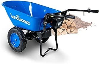 Landworks Wheelbarrow Utility Cart Electric Powered 24V DC 180W AGM Battery 330lbs (150kgs) Max Capacity Barrel Dump Material Debris Hauler