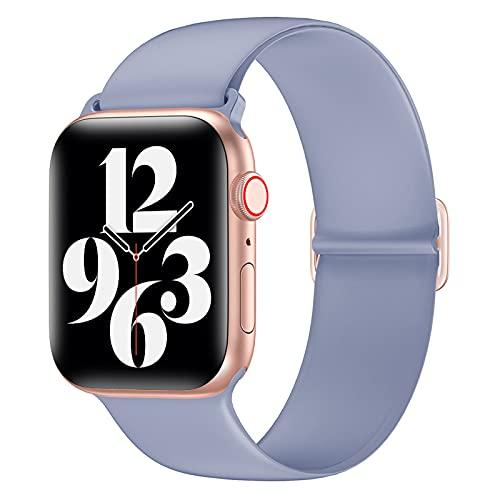AdirMi Correas compatibles con Apple Watch de 38 mm/40 mm 42 mm/44 mm para mujeres, hombres, correa de repuesto de silicona suave compatible con iWatch SE Series 6 5 4 3 2 1, morado, 38/40 mm