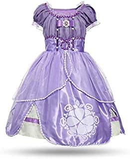 Princess Summer Dresses Girls Sofia Cosplay Costume 5 Layers Children Kids Floral Halloween Party Tutu Dress up Fantasy