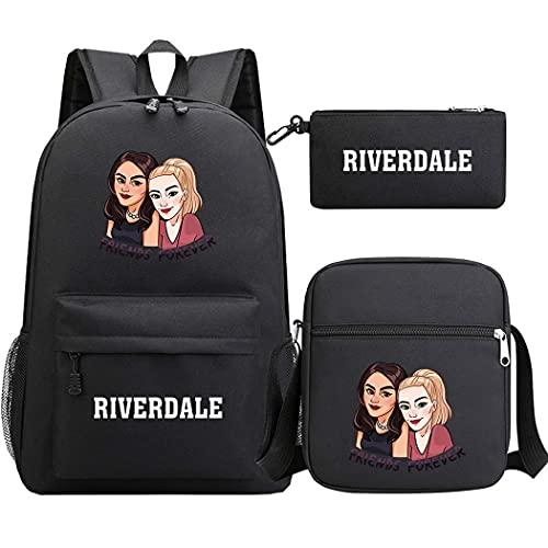 AFHB Riverdale Starry Sky Mochila Escolar para Estudiantes de Tres Piezas para Hombres y Mujeres Conjunto de Mochila Bandolera Bandolera Bolsa para bolígrafos Bolsa para computadora (33)