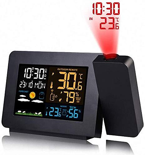 KYLL Estación meteorológica con el Despertador de la proyección, Tiempo Monitor con Control de Radio DCF/Reloj Despertador de luz de Fondo for los dormitorios (Color : Black)