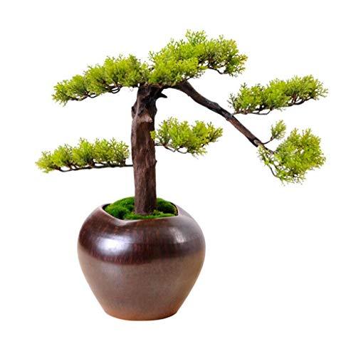 BHBXZZDB Árbol de bonsái de Cedro de imitación Realista en Maceta de imitación, Planta de Interior, Maceta de cerámica Blanca, guijarros, Fondo Acolchado, Adornos de Maceta de árbol de bonsái artific