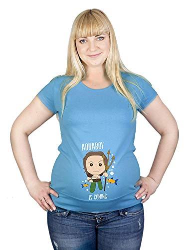 Colour Fashion Maternité T-Shirt Superhero Aquaman Imprimé Doux Grossesse Coton Hypoallergénique - Clair Sarcelle, XL