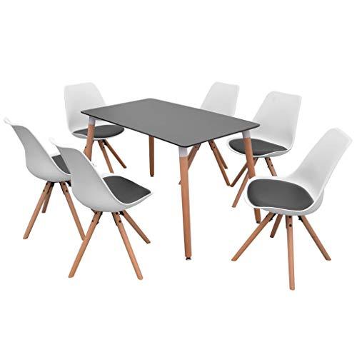 Festnight 7-teilige Essgruppe Tisch Stühle | Esstisch + Stuhlset | 1 Tisch & 6 Esszimmerstühle | Tischgruppe 6 Personen Esszimmer Esstisch Küche Sitzgruppe | Weiß und Schwarz