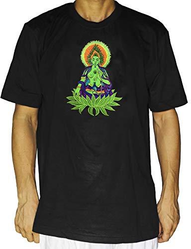 ImZauberwald Cannabis - Camiseta de manga corta (UV con luz negra activa, parte trasera con flor de la vida), diseño de marihuana con bordado hecho a mano Marihuana Goddess XXXL