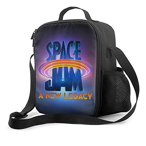 Space Jam A New Legacy Insulated Lunch Bag, Thermal Lunch Bag Lunch Cooler With Should Strap, Large Lunch Box