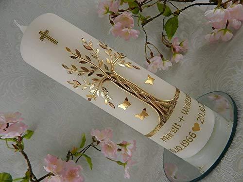 Hochzeitskerze Lebensbaum gold Geschenk zur goldenen Hochzeit 250/70 mm inkl. Beschriftung