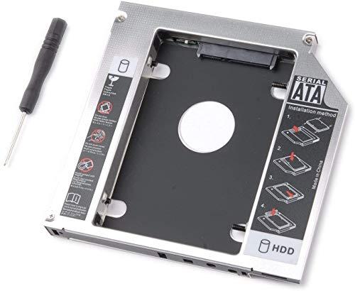 tinxi® 2nd HDD Caddy 2nd HDD/SSD Bay Caddy SATA auf SATA Einbaurahmen Caddy Tray 9,5 mm für MacBook Pro 13 15 17