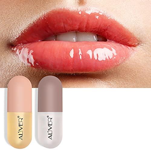 Natural Lip Plumper,Ensemble de sérum rehausseur et soin des lèvres à double effet jour et nuit, sérum pour Les lèvres, Huile de Gingembre et Menthe hydratante, rehausseur hydraté.