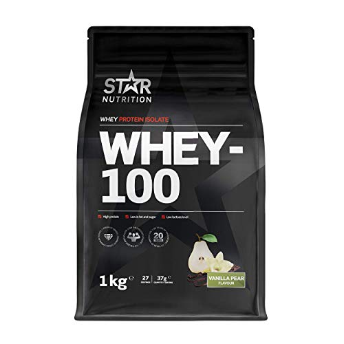 Star Nutrition® | Whey Protein Pulver 100 | Eiweißpulver Whey Protein Isolate mit Hohem Proteingehalt, Wenig Fett und Zucker und Niedrigem Laktosespiegel | Vanille Birnengeschmack | 1 kg