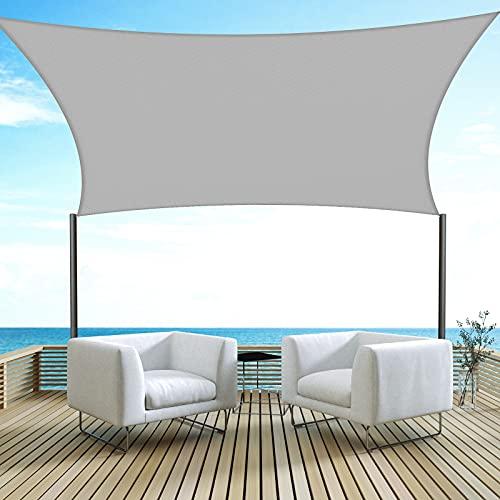 Velway Toldo Vela de Sombra Rectangular 3x3m Protección UV, Toldo Oxford 300D a Prueba de Lluvia para Exteriores Patio Jardín Terraza Camping Balcón, Gris Terroso