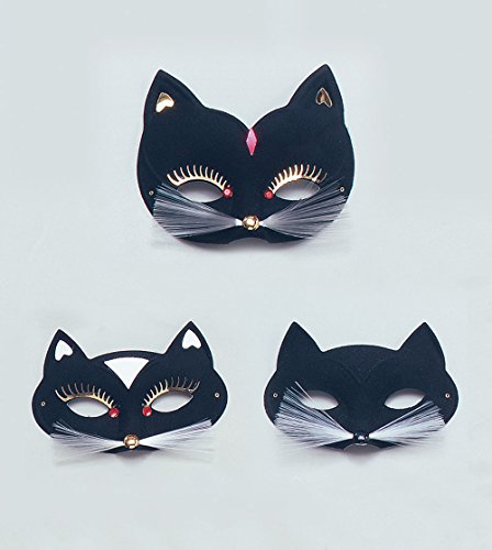 Cat Domino Eye Mask. Black
