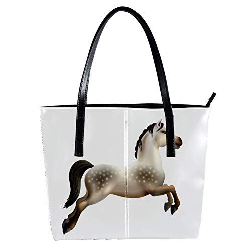 LORVIES - Bolso de piel sintética con diseño de caballo de carrusel aislado