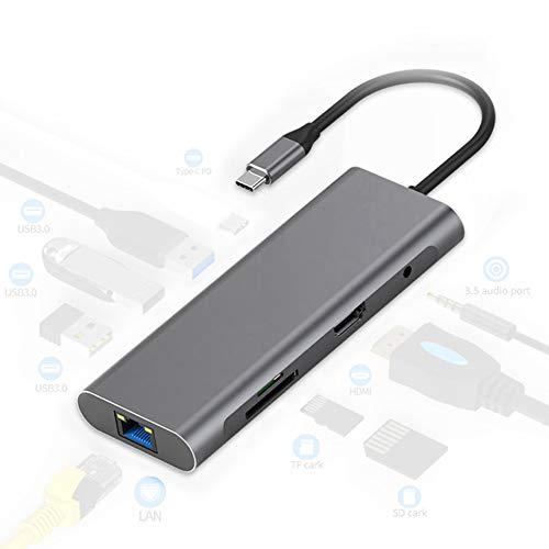 GUARDUU 9 in 1 Type C Laptop Docking Station, USB 3.0 HDMI TF LAN PD USB Hub voor Macbook Huawei Xiaomi DELL Surface Lenovo Dock