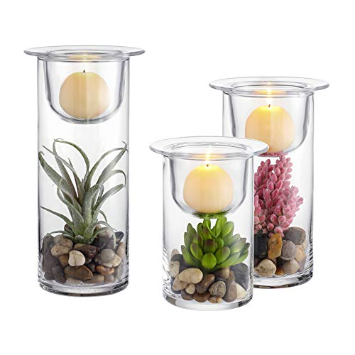 KMwares Set of 3 Cylinder Glass Hurricane Candle/Succulent Holder with Decorative Cobblestones and Artificial Plants (Ball Candles not Included) - Unique Accent for Home and Table Decoration