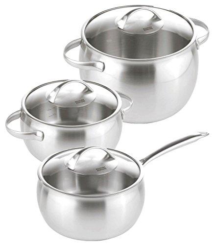 KUHN RIKON 37249 Kochgeschirr Topfset Topf Daily Set 3-teilig bestehend aus Stielkasserolle 1.8L und Kochtopf 3.3L/7.6L modernes Design mit Glasdeckel