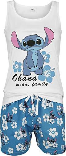 Lilo & Stitch Hawaii Mujer Pijama Blanco-Azul XXL, 100% algodón,