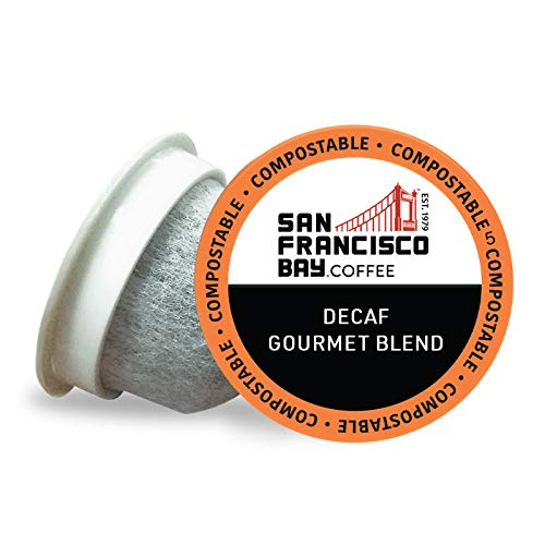 SF Bay Coffee OneCUP DECAF Gourmet Blend 80 Ct Natural Water Processed Dark Roast Compostable Coffee Pods, K Cup Compatible including Keurig 2.0