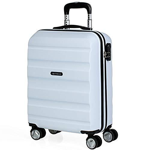 ITACA - Hartreisekoffer 55x40x20 cm ABS, 4 Rollen. Kabinengepäck. Handgepäck. Klein, robuster, praktisch und Leichter. Hängeschloss. Hochwertiger und Markenzeichen. T71650, Color Weiss