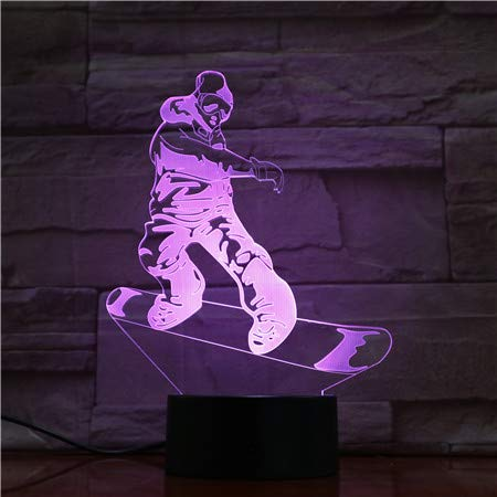 3D Snowboard Lampe Led Nachtlicht 16 Farben Wählbar Dimmbare Touch Schalter Nachtlampe Geburtstag Geschenk, Frohe Weihnachten Geschenke Für Mädchen Männer Frauen Kinder