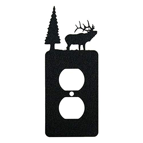 Elk & Cabin Single Duplex Wall Plate (Single Power, Black)